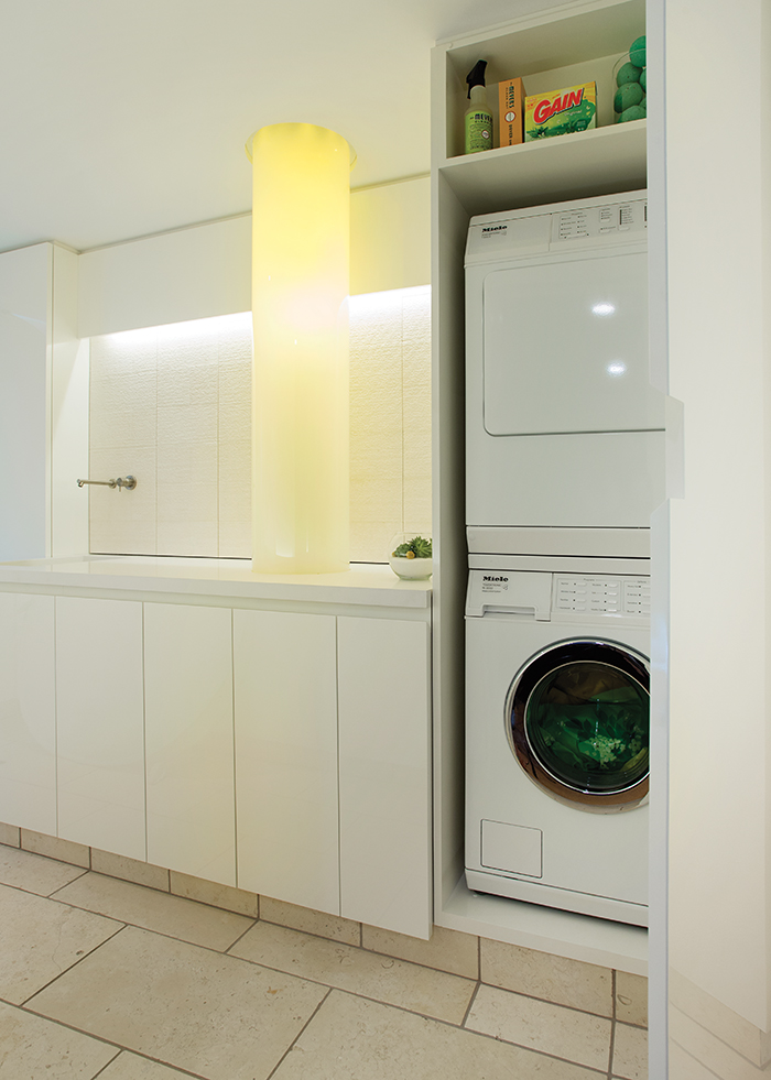Modern laundry room with fiber-optic chute