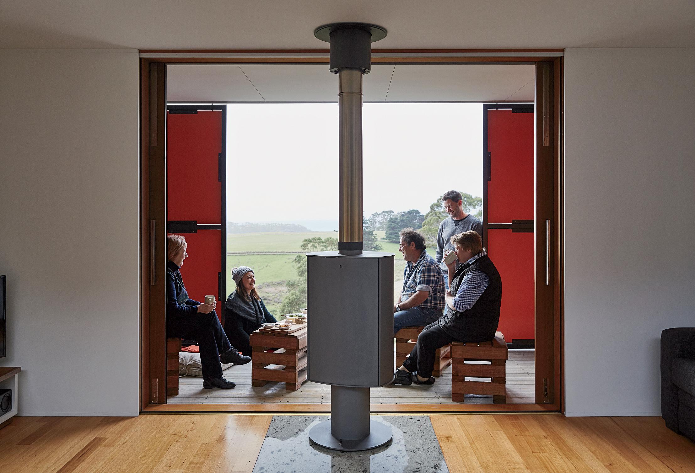 Veranda of off-the-grid Tasmanian prefab by Misho+Associates.