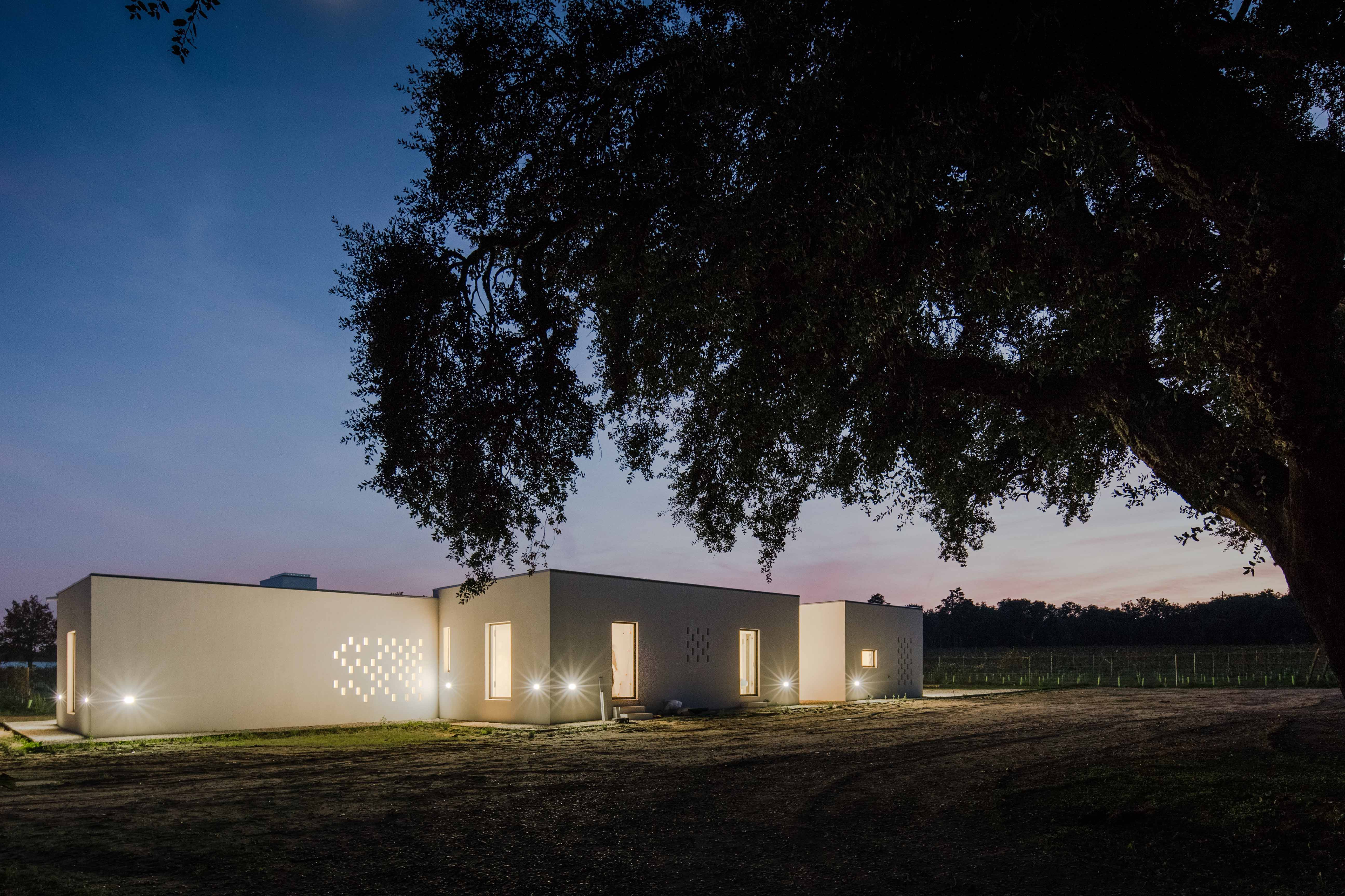 Vineyard house illuminated at night