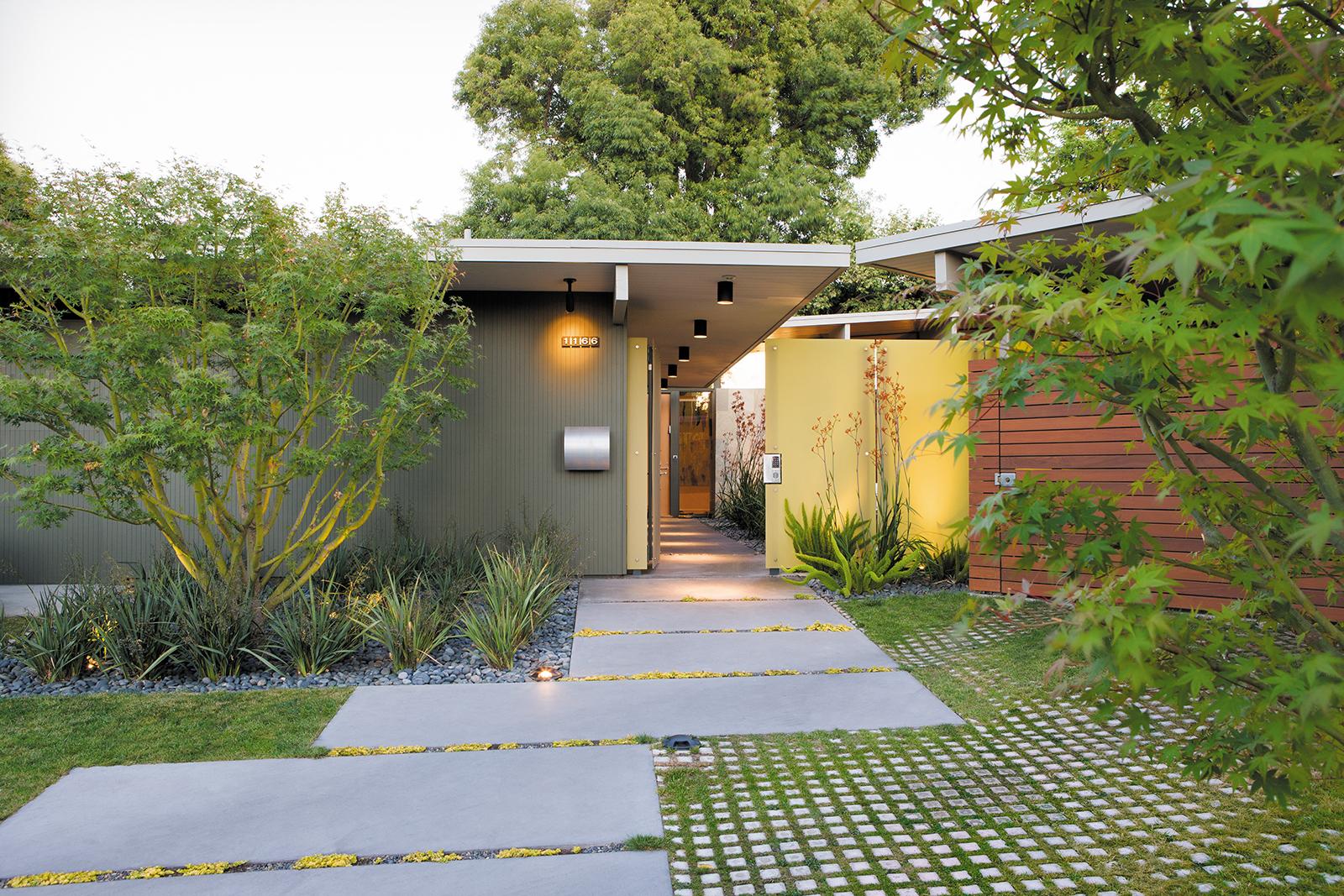 modern entrance ipe fence wood plants concrete pavers