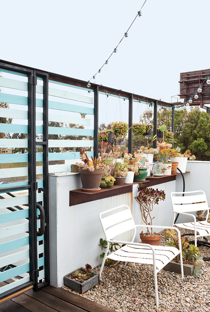 Patio with horizontal slats off a micro-living unit