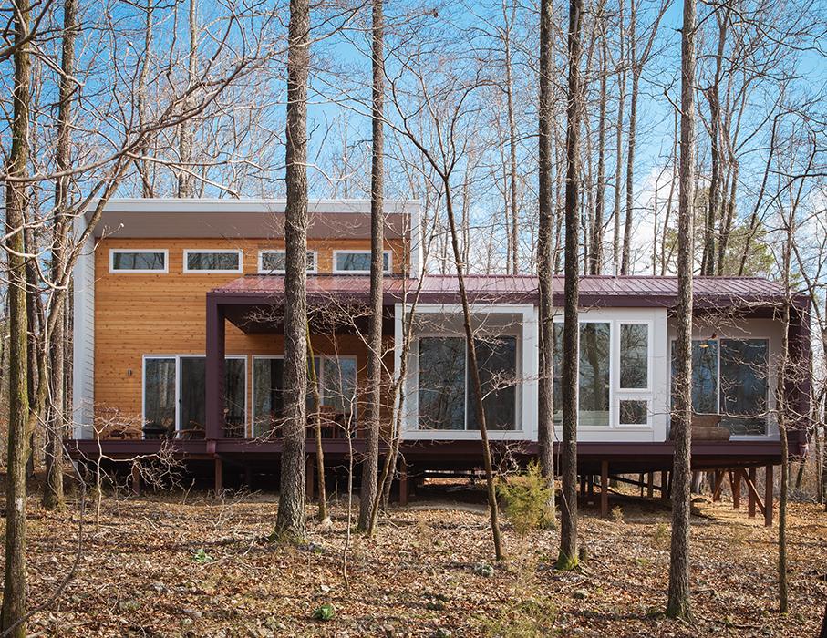 modern green arkansas cabin cement panels facade