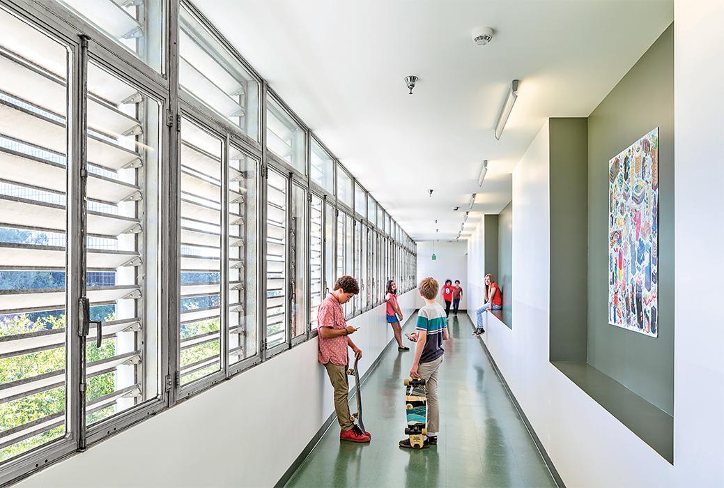 Modern mid-century Los Angeles school reuse has modified hallway circulation areas