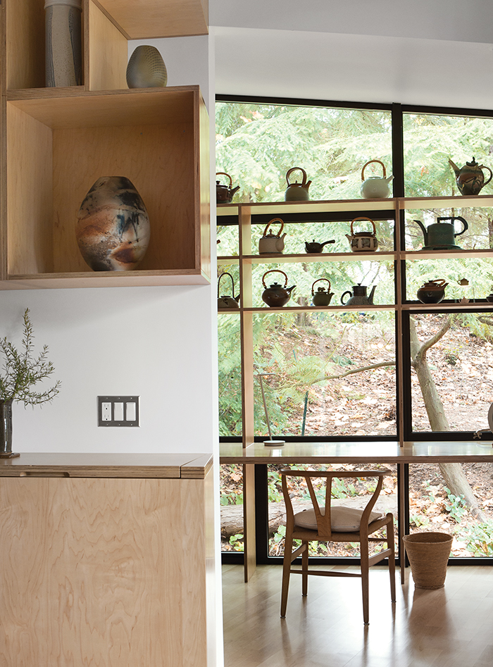 Modern addition with light-filled shelving for an Alzheimer's patient