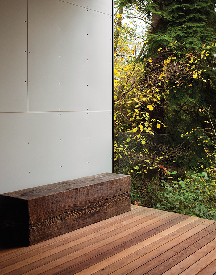 Enclosed deck of a modern addition in the woods