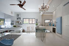 Tel Aviv kitchen with custom dining table and Smeg fridge