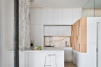 Brooklyn kitchen with gray marble backsplash
