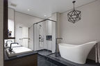 dumbo residence master bathroom white freestanding tub9