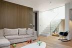 modern lycabettus penthouse apartment living room vertical oak slats