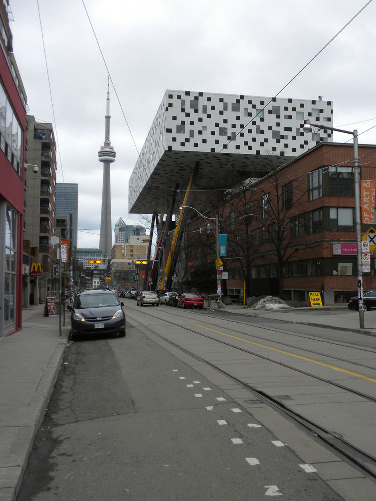 After visiting the AGO, it was a quick walk down to check out the exterior of the Ontario College of Art and Design University (OCAD). This photo, with Toronto's iconic CN Tower in the background, was taken from across the street from the AGO.