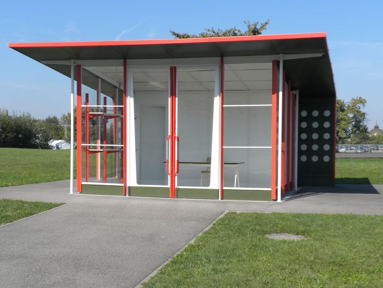 """Next to Fuller's Dome is another building that is not original to the Vitra Campus. In the 1950s, <a href=""""http://www.dwell.com/people/jean-prouve.html"""">Jean Prouvé</a> designed a series of gas stations that were built in France. This one was constructed"""