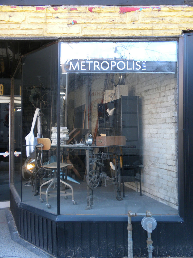 """Salvaged and reclaimed pieces are the calling of The Junction and one shop that caught my eye was <a href=""""http://www.metropolis-living.com"""">Metropolis Living</a>. The store was closed but you can peruse images of the inside at <a href=""""http://www.metropo"""