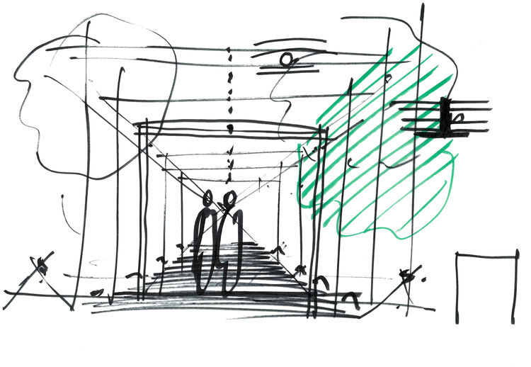 Renzo Piano's sketch of his vision for the transparent connector between the historical palace and the contemporary wing of the Gardner museum.