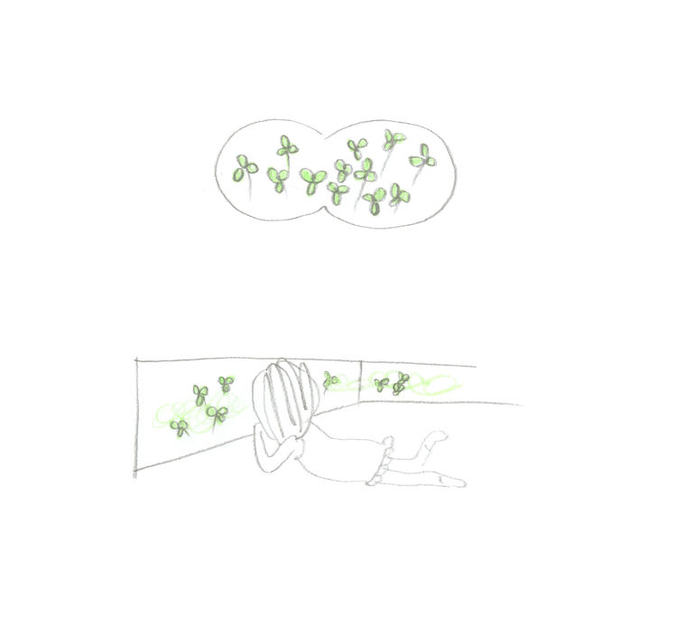 Here, a girl views a field of clover through a window. If one were to sit on the ground floor, Nakayama explains, he or she would be able to see each clover leaf, just as if they were outdoors.