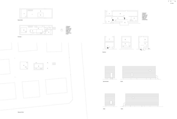 Here are the plans and sections of the residence.