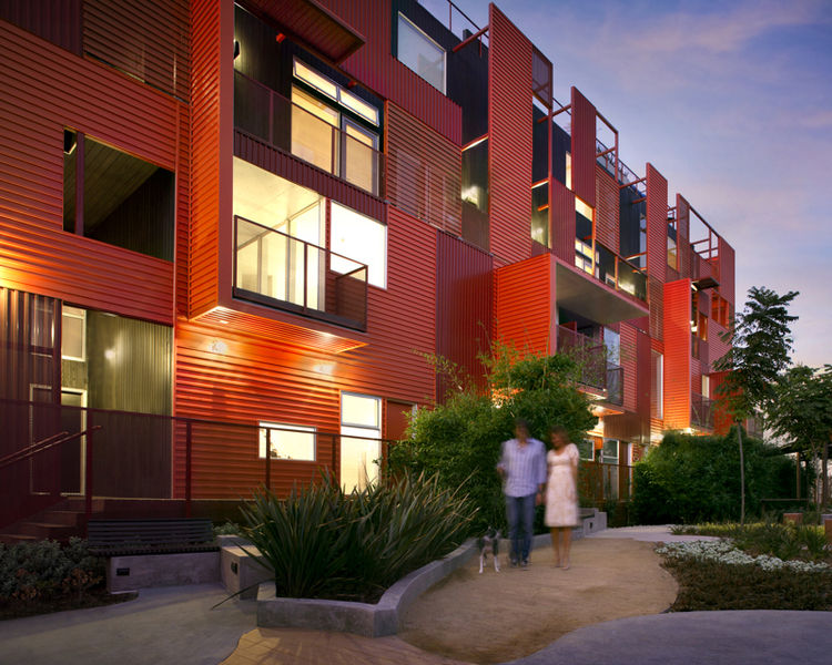 """The Formosa 1140 in West Hollywood, California, designed by Lorcan O'Herlihy Architects, was awarded an AIA 2010 Multifamily Housing prize for """"outstanding apartment and condominium design, both high- and low-density projects for public and private client"""