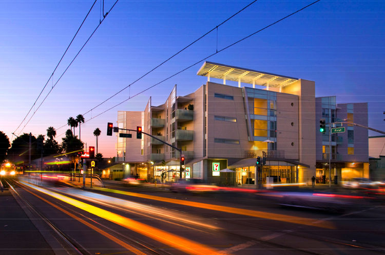 """The Gish Apartments in San Jose, California, designed by the Office of Jerome King, was awarded an AIA 2010 Multifamily Housing prize for """"outstanding apartment and condominium design, both high- and low-density projects for public and private clients, th"""