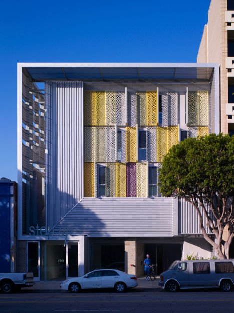 """Step Up on 5th, in Santa Monica, California, designed by Pugh + Scarpa, was awarded an AIA 2010 Special Housing prize for """"outstanding design of housing that meets the unique needs of other specialized housing types such as single room occupancy residence"""