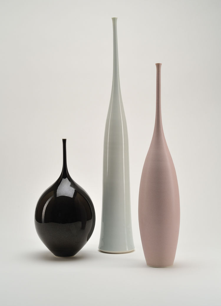 "The last section of the book covers the aughts, still settling into its place in modern design, and includes the work of British ceramist Sophie Cook. The Pod and Teardrop vases, from 2003, are defined by almost impossibly slim necks. Photo by <a href=""ht"