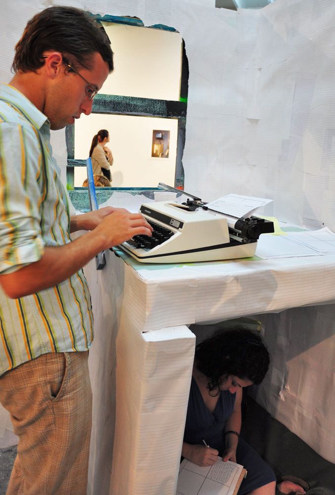 Typewriters are available to encourage participation. Photo by Robby Campbell
