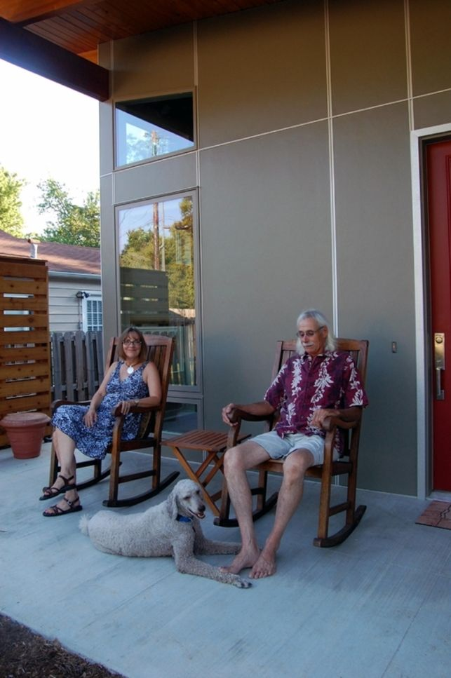 A.J. and Myria enjoy sitting on their enclosed porch watching their nine-year-old poodle, Hector, wander up the street looking for neighborhood cats. The butterfly garden in the front yard, hosting 17 attractive plants such as sweetbay magnolia, lavender,