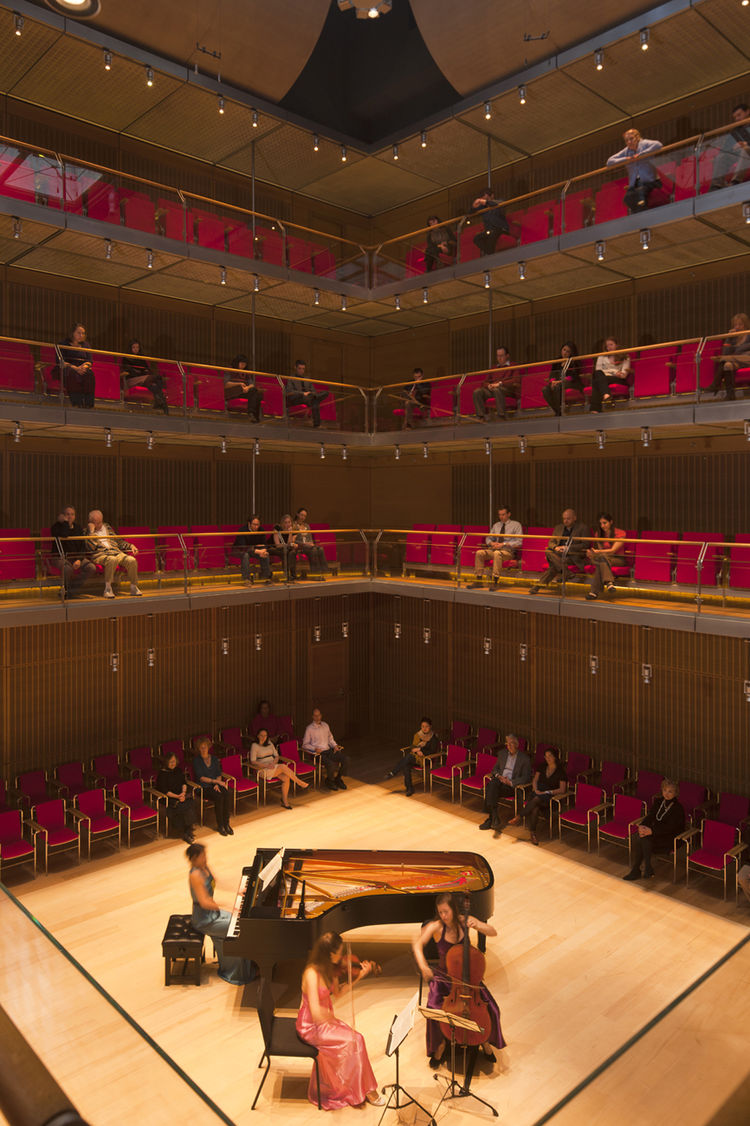 View from a balcony of Calderwood Hall in the new wing: the acoustics in the space were engineered by Yasuhisa Toyota, who has worked on Frank Gehry's Disney concert in L.A., among many others. His first meeting with Renzo Piano was, architecturally speak