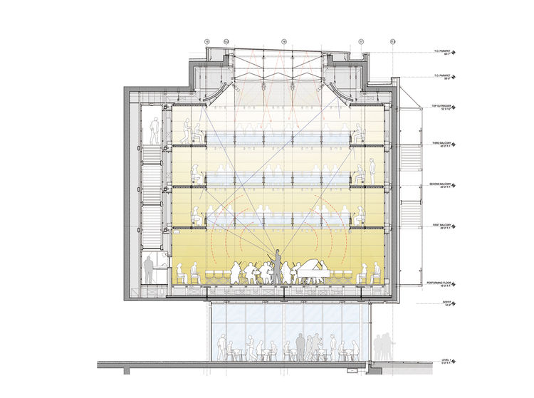 Section view of the technologically advanced Caldwell Hall, designed by Renzo Piano with the acoustical expertise of Yasuhisa Toyota.