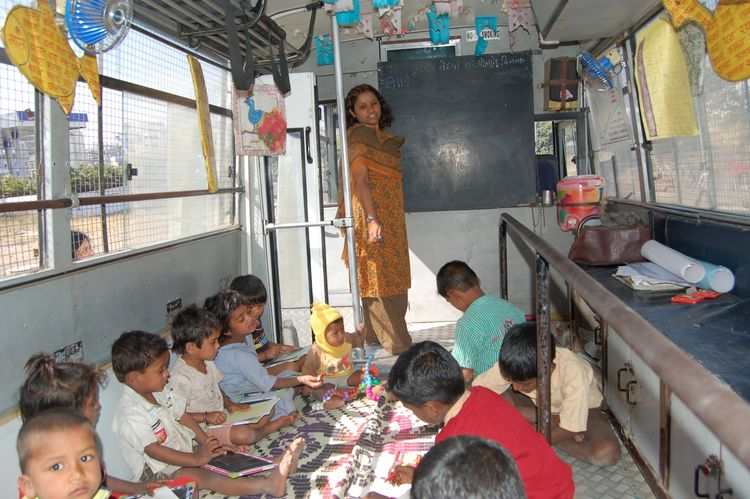 The School on Wheels in Pune, India is a mobile and adaptable classroom, 2000–present. Photo courtesy Vijay Gondi.