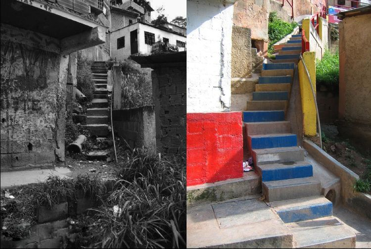 The Integral Urban Project in the neighborhood of San Rafael-Barrio Unido in Caracas, Venezuela, upgraded the extremely vertical settlement with an improved network of stairs that integrate drainage, sewage and clean water infrastructure. Photo courtesy o