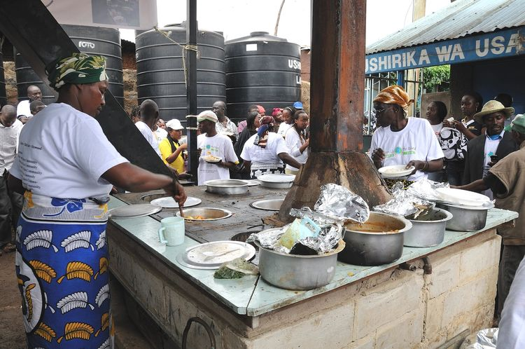 The Jiko ya jamii (Community Cooker) is a large-scale oven that uses trash as fuel to power a communal cooking facility in Kibera, Nairobi. Photo courtesy of Community Cooker–Jiko Ya Jamii.