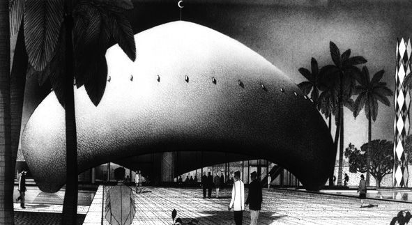 Detail of the mosque located within the University of Baghdad masterplan, both designed by Walter Gropius. It's presently not in use as a religious center to minimize political conflict between the Shiite and Sunni Muslim groups. <br /><br /> Walter Gropi