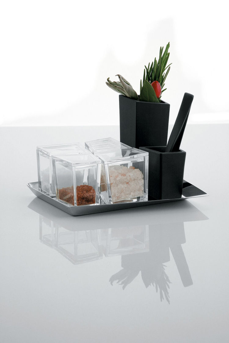 Cum Grano Salis salt set, by Giovanni Alessi Anghini, Fabio Fassone, and Lorenzo Piccione di Pianogrillo for Alessi.  A modern salt cellar that makes room for four varieties of the ancient spice, along with a mortar and pestle for mixing.