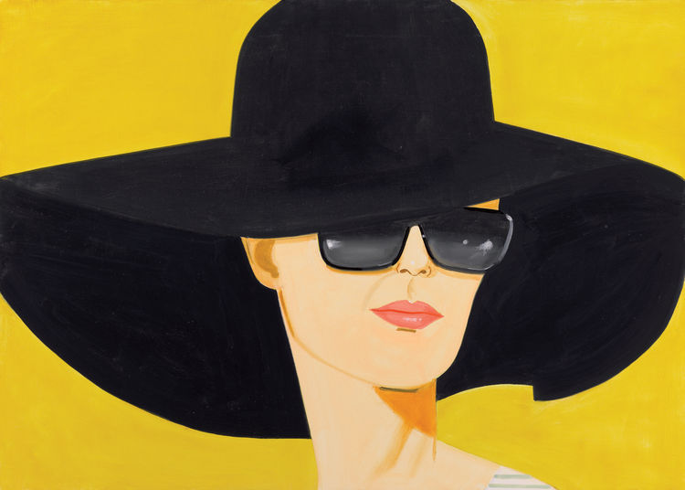 <i>Black Hat</i> (Bettina), 2010, Oil on linen, 152.4 x 213.4 cm, Private Collection, London, © Alex Katz/Licensed by VAGA, New York, NY, Image courtesy Galerie Thaddaeus Ropac, Paris - Salzburg.