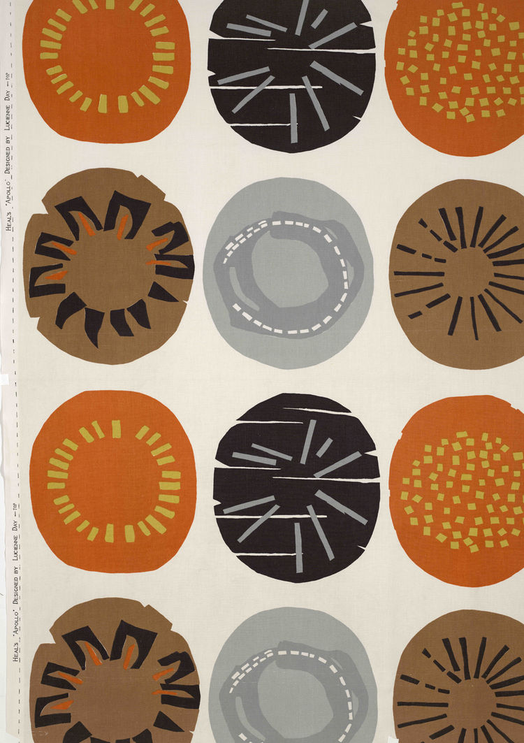 Apollo, (detail), late 1950s. Lucienne Day. Manufactured by Heal Fabrics. Jill A. Wiltse and H. Kirk Brown III Collection of British Textiles. On display at the Textile Museum in Washington, DC, May 15-September 12, 2010, as part of the exhibit <i><a href