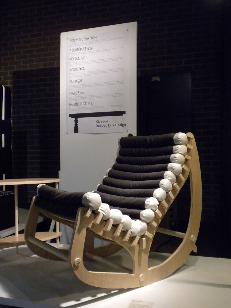 Another piece in the <i>Kiosque Québec Eco-Design</i> exhibition was the <i>Autumn Rocker</i> by Concordia University student Nathalie Pan. The ergonomic rocking chair was made with FSC-certified plywood, organic cotton, and locally produced organic buckw