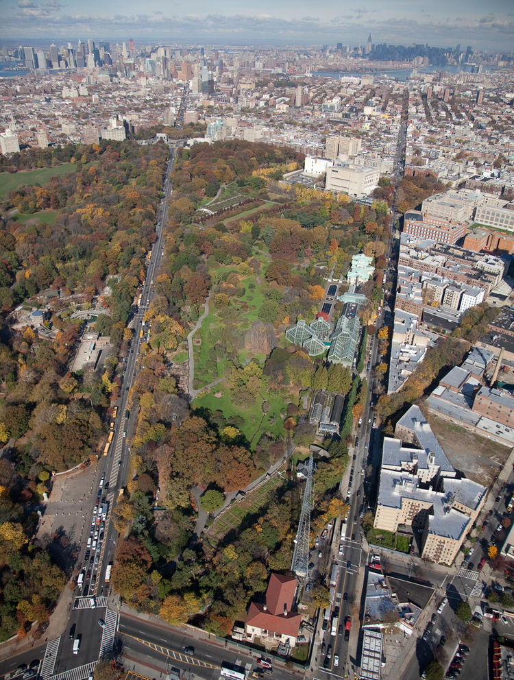 This aerial shot of the Brooklyn Botanical Garden shows the masterplan for its site, with the visitors' center at top, just below the Neoclassical Brooklyn Museum. Courtesy of Michael Van Valkenburgh Associates.