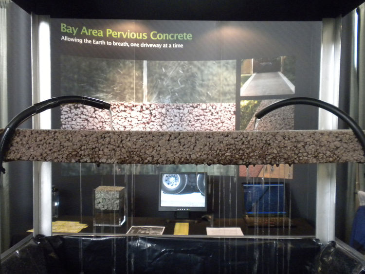 """<a href=""""http://www.bayareaperviousconcrete.com/"""">Bay Area Pervious Concrete</a> displayed its permeable surface solution a live demonstration. Pervious ground coverings not only decrease puddles and water accumulation, but they also filter contaminants l"""