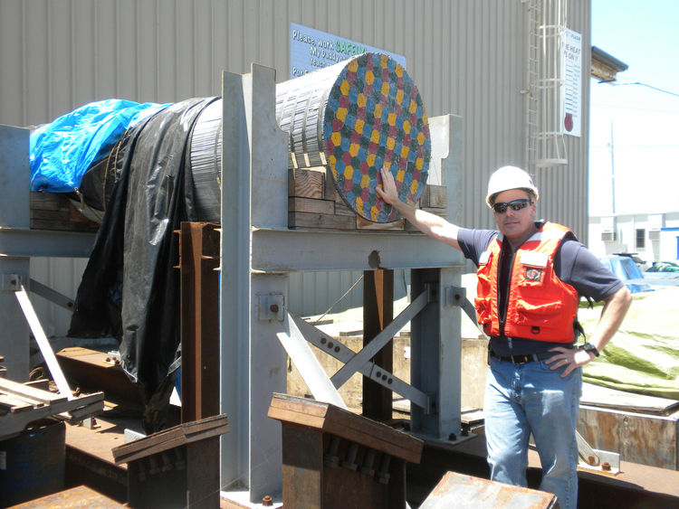 Back on land, Ney showed off a piece of the main cable, made up of 17,000 wires and measuring over 36 inches. Seventy-five percent of the steel in the bridge is being fabricated in the United States, including that for the main cables, and the rest is com