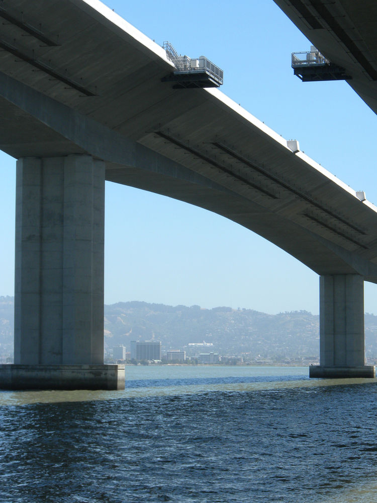 Because the old Bay Bridge is a nesting ground for cormorants, the design of the new bridge incorporates shelves off the underside of the smooth surfaces of the bridge so that the birds can build homes after the old Bay Bridge is torn down. Ney, our guide