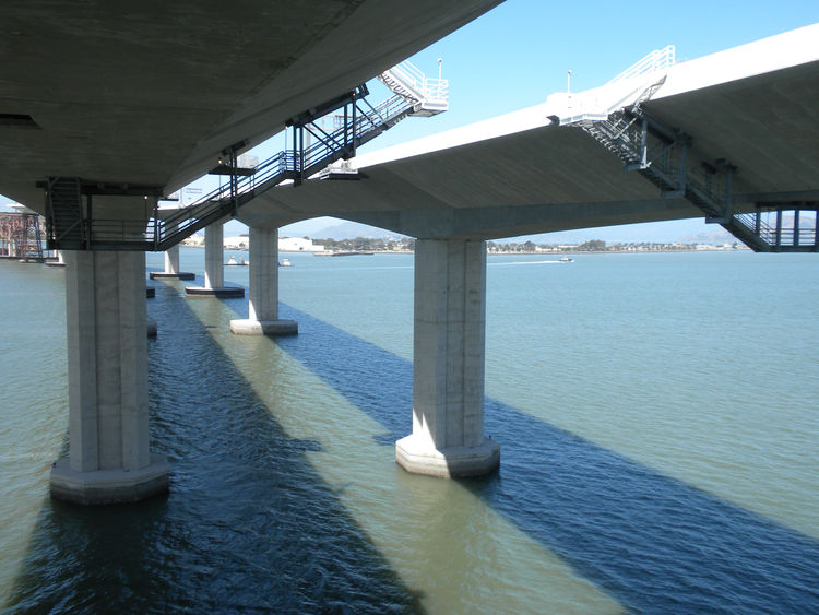 On tour, once we explored the top of the skyway, we headed into the bridge. Here, a view of the underside of the new spans.