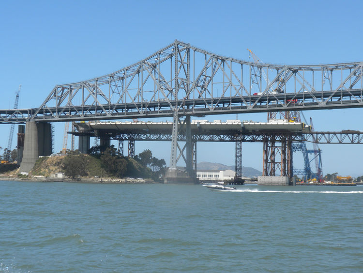 Next on our trip, we hopped on a boat for a water tour of the bridge. Pictured here is the transition from Yerba Buena Island and the beginning of the western end of the self-anchored suspension (SAS) bridge with the old Bay Bridge in the foreground.