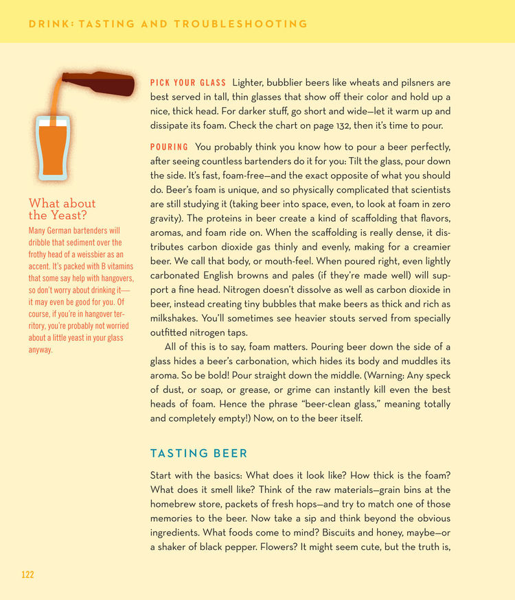 Even Bostwick and Rymill still admit to occasionally brewing a batch of not-so-tasty beer. One of the most useful sections of their book is the Tasting and Troubleshooting chapter. Does your beer taste like soy sauce? Reference the troubleshooting chart,