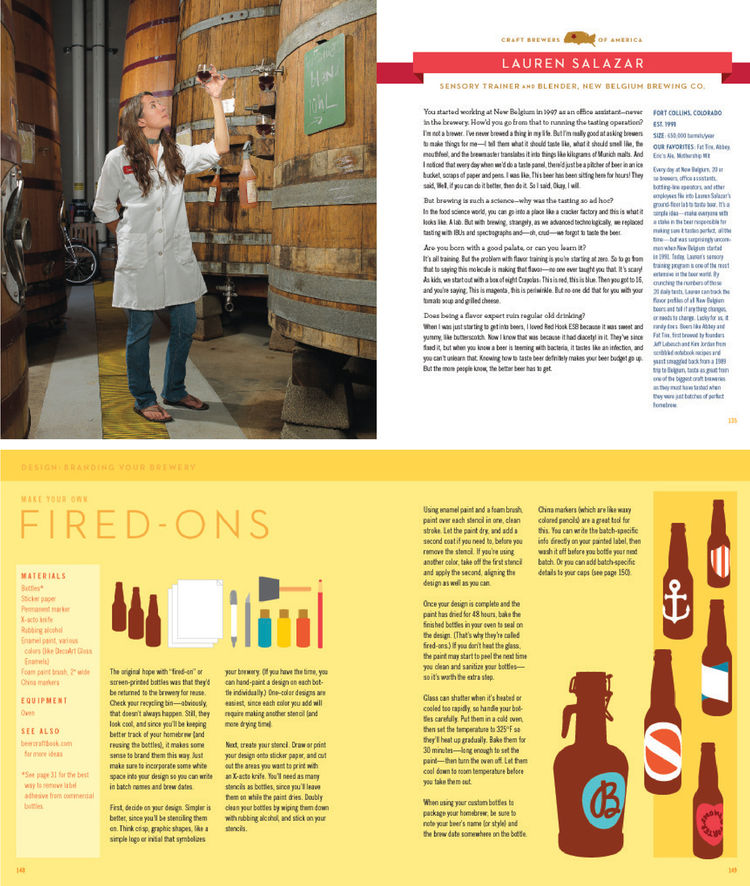 As part of their research, Bostwick and Rymill took a six-week road trip across the U.S. They visited more than two dozen craft breweries, seven of which they feature in the book with brief interviews. Shown here (top spread) is Lauren Salazar, a sensory