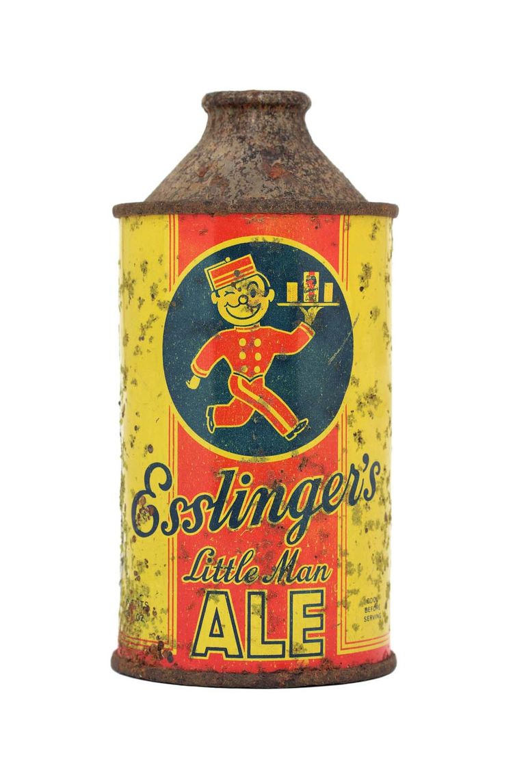 "A can from the Esslinger's Inc. Brewery from the 1940s and 1950s featuring the Philadelphia company's mascot, the ""Little Man."""