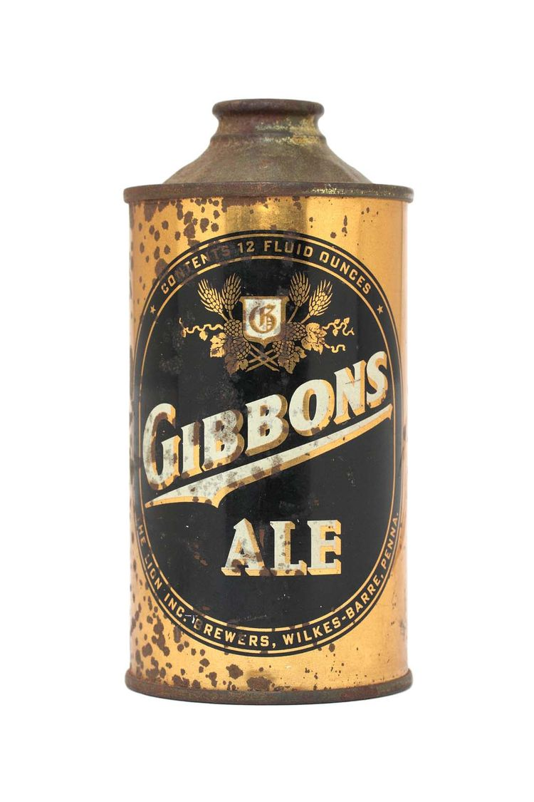 Once prohibition was lifted, The Lion Brewery, Inc. of Wilkes-Barre, Pennsylvania, set about serving its beer—Gibbons Ale—in these black-and-gold cans.