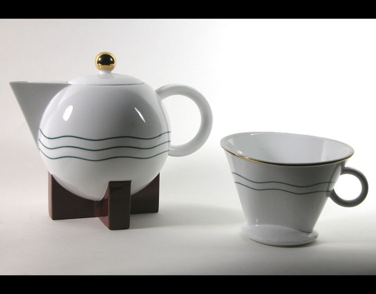 Porcelain Big Dripper Coffeepot and Filter Holder by American designer Michael Graves in 1986 for Swid Powell in New York, New York.
