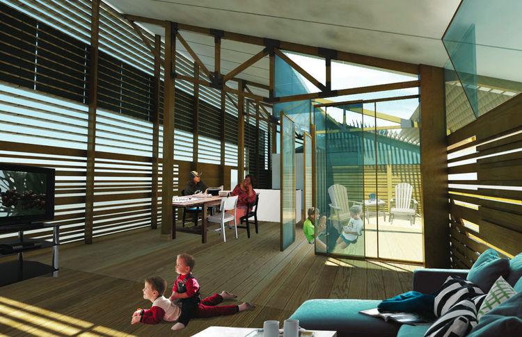 Breezeway (interior) by Jessica Dan and Hamza Alhbian of McGill University, Winning Design