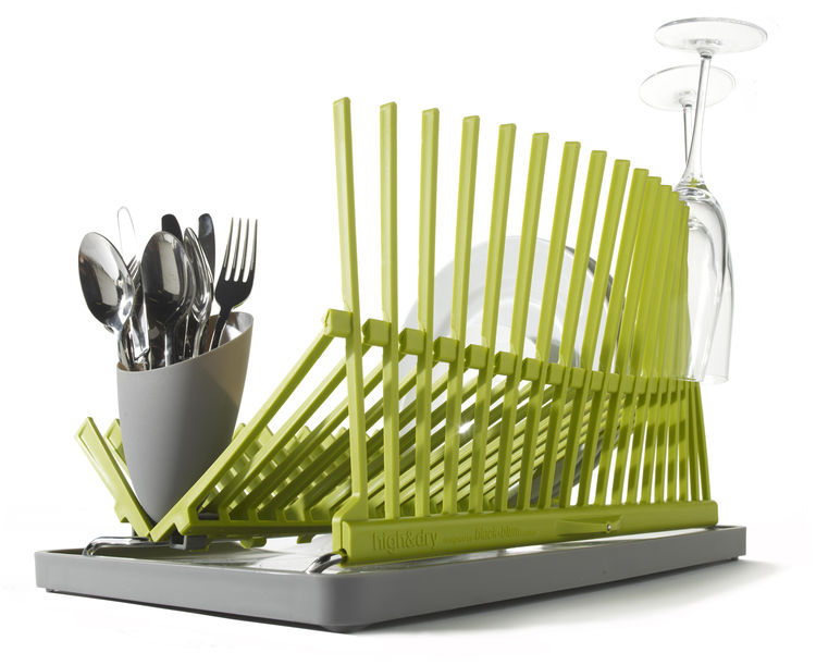 "The company's <a href=""http://www.dwell.com/products/high-and-dry.html"">High&Dry dish drainer</a> folds down flat for easy storage and opens into an architectural wave, perfect for drying everything from dinner plates to champagne flutes."