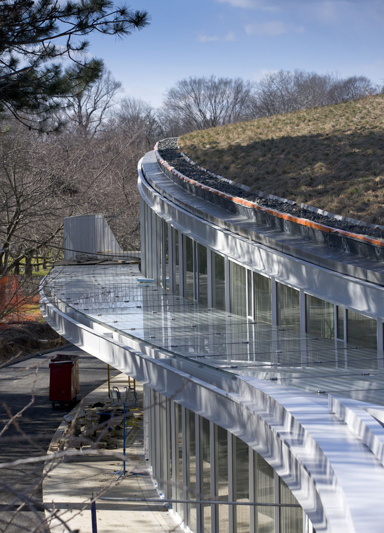 """Manfredi also speaks to the structure's undulating mass, partially nestled into an existing hill in the northeast corner of the site. The """"topographical"""" quality of the nearly two-block-long, curving steel frame structure """"evokes the garden's winding path"""