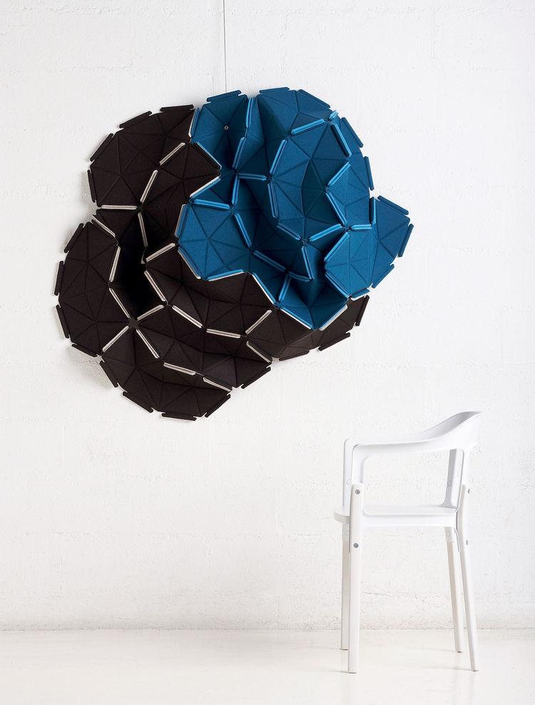 Clouds, Kradat, 2009. Modular partition unit, thermo compressed foam and fabric, coinjected rubberband. 500 × 10 × 300 mm/19.7 × 0.4 × 11.8 inches; Kvadrat, Denmark